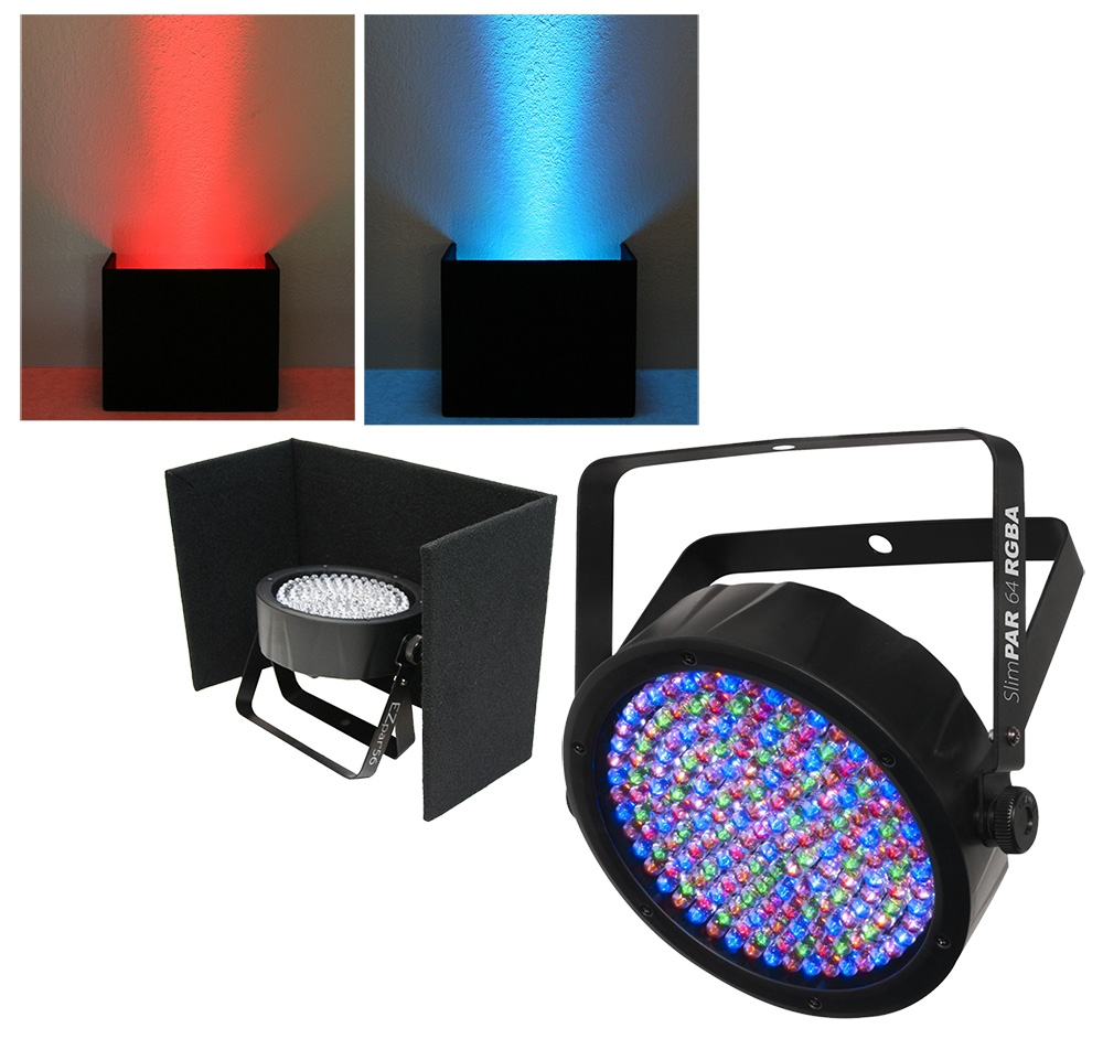 chauvet dj lighting slimpar 64 rgba compact low profile rgba led uplighting wash with black up. Black Bedroom Furniture Sets. Home Design Ideas