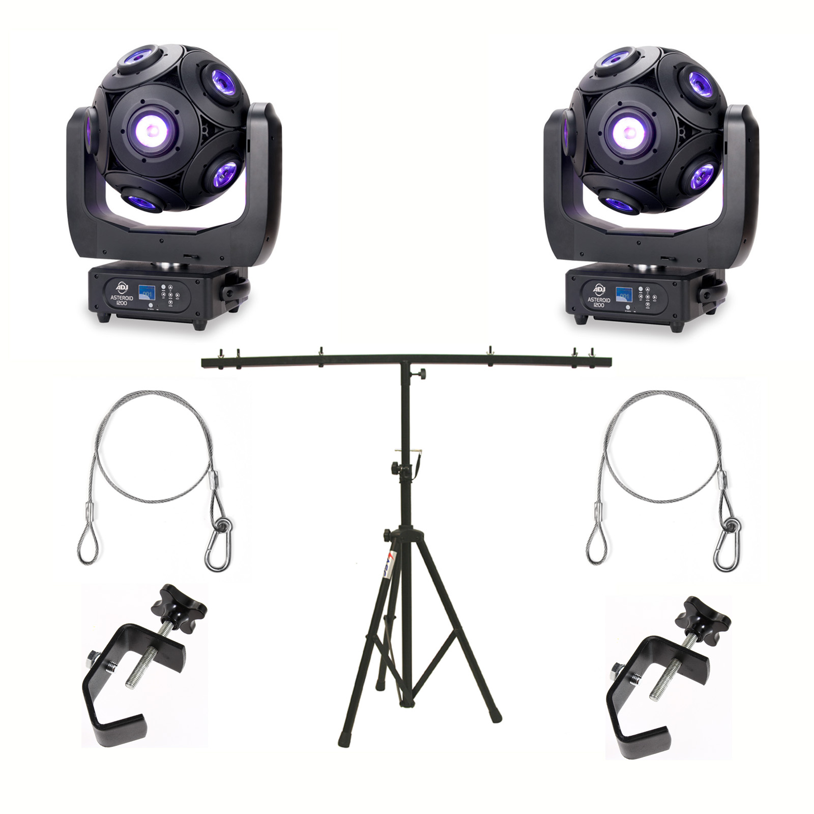 American DJ Asteriod 180W LED Centerpiece (2) with Adjustable Top T Tripod Stand