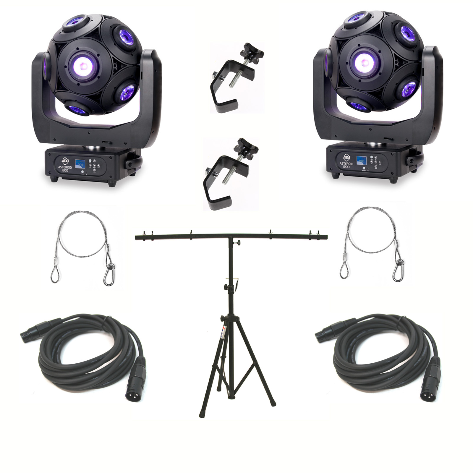 American DJ Asteriod LED Centerpiece (2) w/ Top T Tripod Stand, 3 Pin DMX Cable