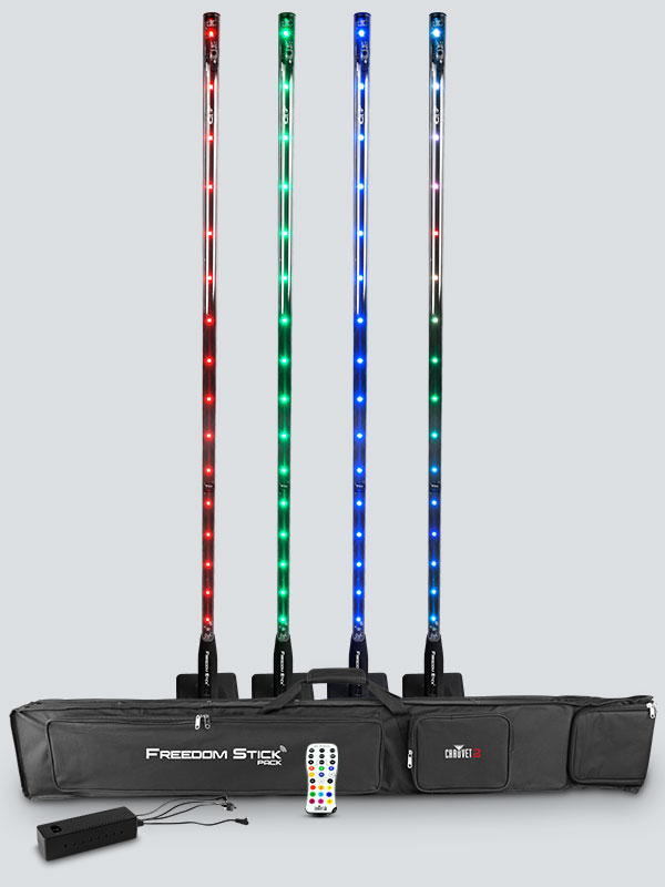 Chauvet FREEDOMSTICKPACK Free-Standing RGB LED Array System with Carry Bag and Remote Controller