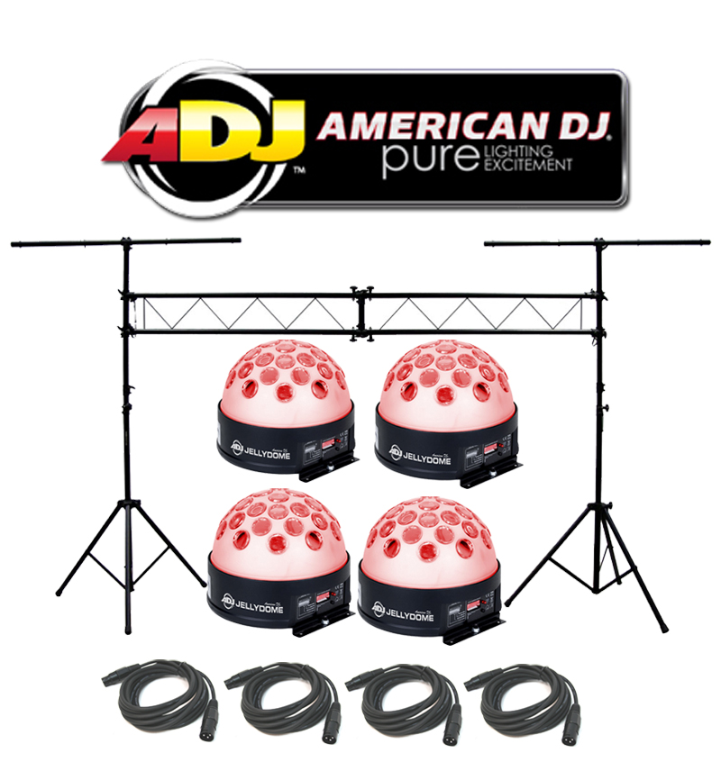 American DJ Lighting (4) Jelly Dome Glowing Moonflower LED Color Light with (4) DMX Cables & Portable Truss System