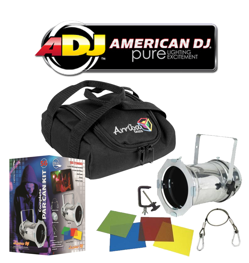 American DJ Lighting 56 COMBO Par Can Polished Stage Light with Arriba AC-50 Accessory Bag