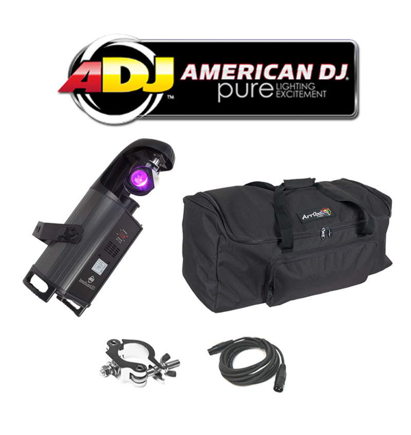 American DJ Lighting Inno Scan LED Gobo Scanner Color Light with DMX Cable, Truss Clamp & Arriba Bag