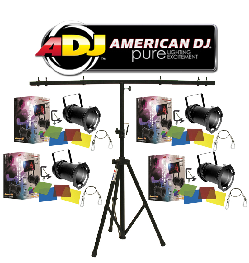 american dj lighting 4 64 black combo par can stage lights with tripod t bar light stand. Black Bedroom Furniture Sets. Home Design Ideas