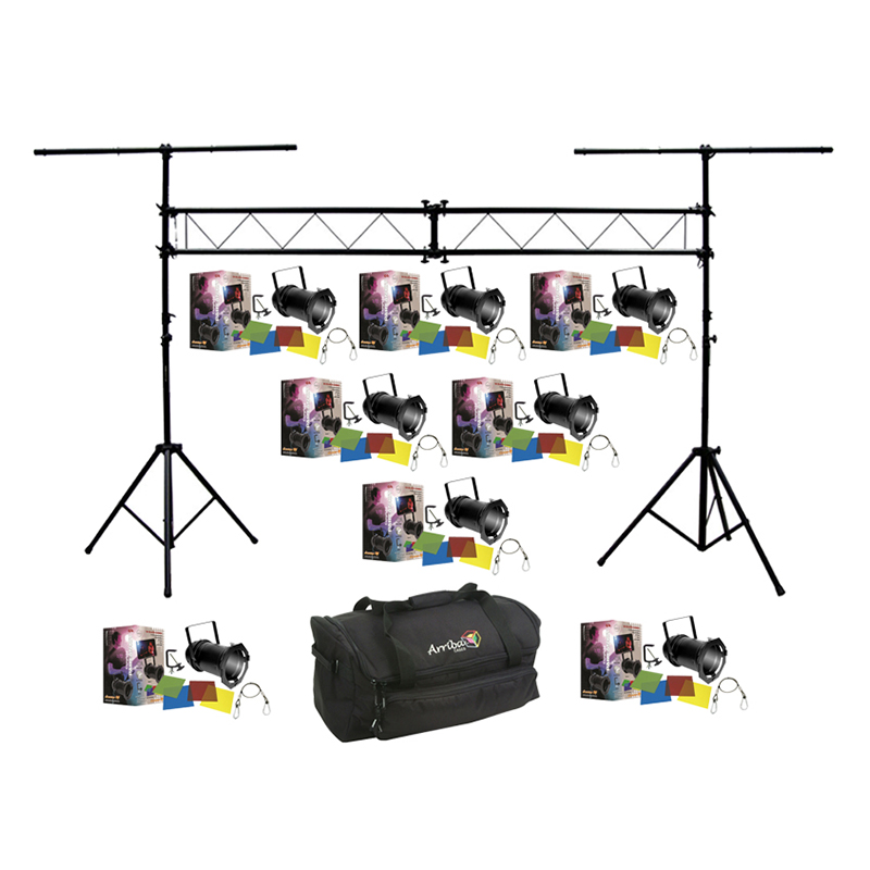American dj lighting 8 64 black combo par can stage for Truss package cost