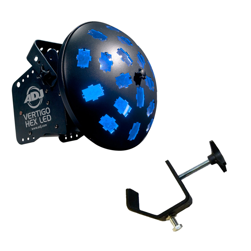 American DJ Vertigo HEX LED Rotating Multi Color Sound Activated LED Beam Light with Truss Clamp Package