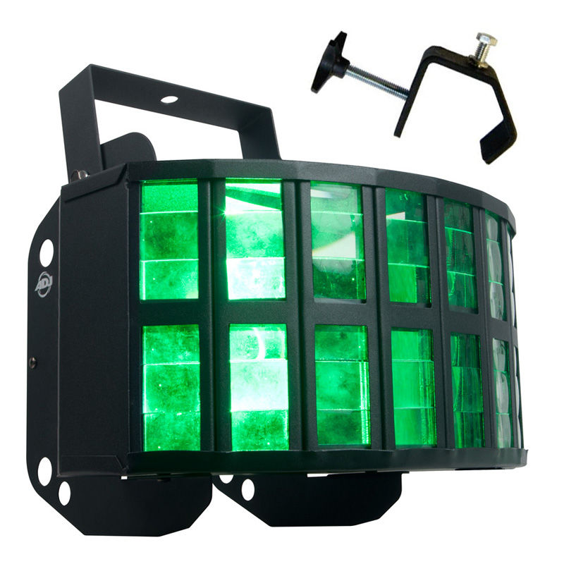 American DJ Aggressor HEX LED Sound Activated Multi Color Derby Beam Light with Truss Clamp