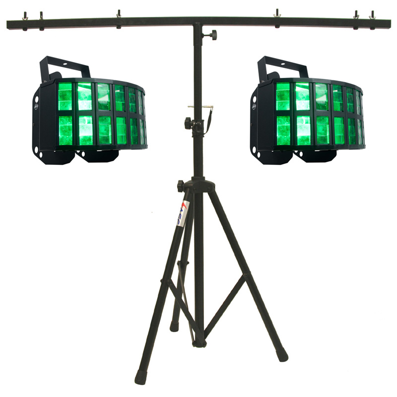 American DJ (2) Aggressor HEX LED Sound Activated Multi Color Derby Beam Light with T-Bar Light Stand