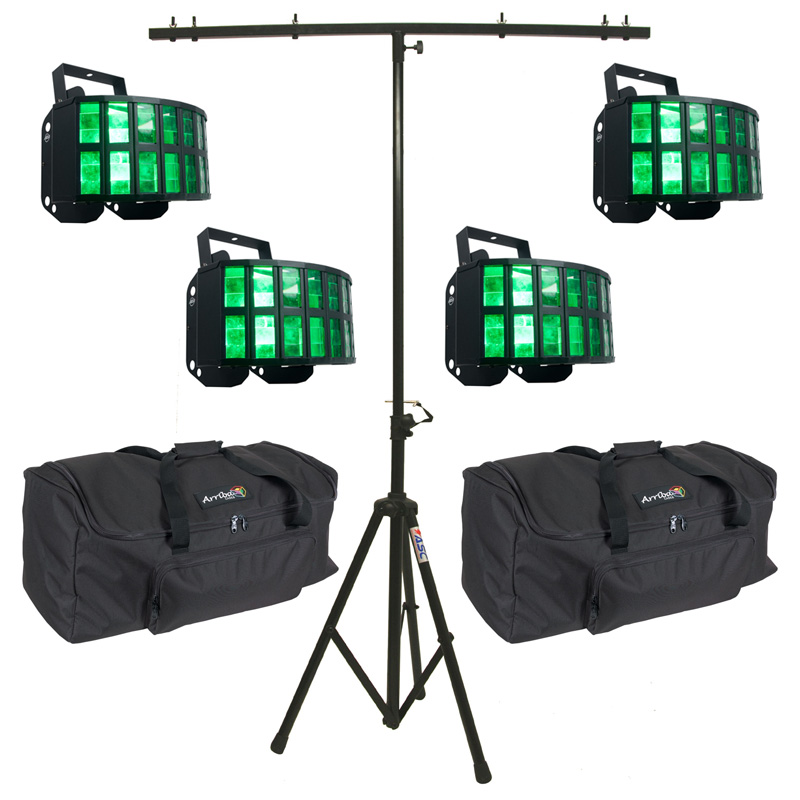 American DJ (4) Aggressor HEX LED Sound Activated Multi Color Derby Beam Light with T-Bar Light Stand & (2) Travel Bags