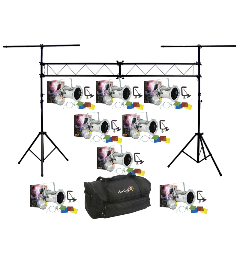 American dj lighting 8 64 combo par can polished stage for Truss package cost
