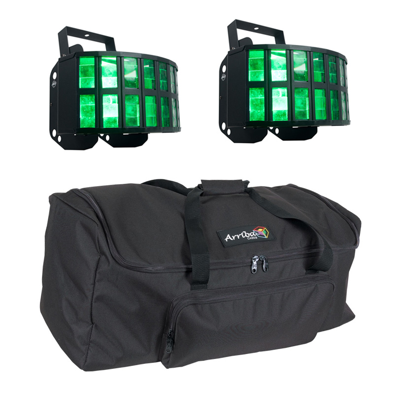 American DJ (2) Aggressor HEX LED Sound Activated Multi Color Derby Beam Light with Arriba Travel Bag