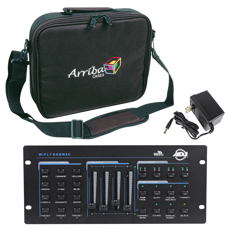 American DJ WiFly RGBW8C Wireless 32 Channel DMX Lighting Controller with Arriba Travel Bag Package