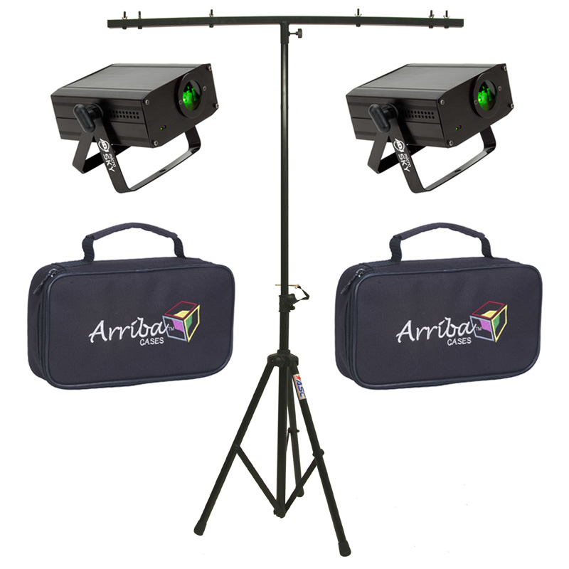 American DJ (2) Micro Sky Green Laser Ceiling, Wall or Above Crowd Liquid Effect Light with Travel Bags & T-Bar Stand
