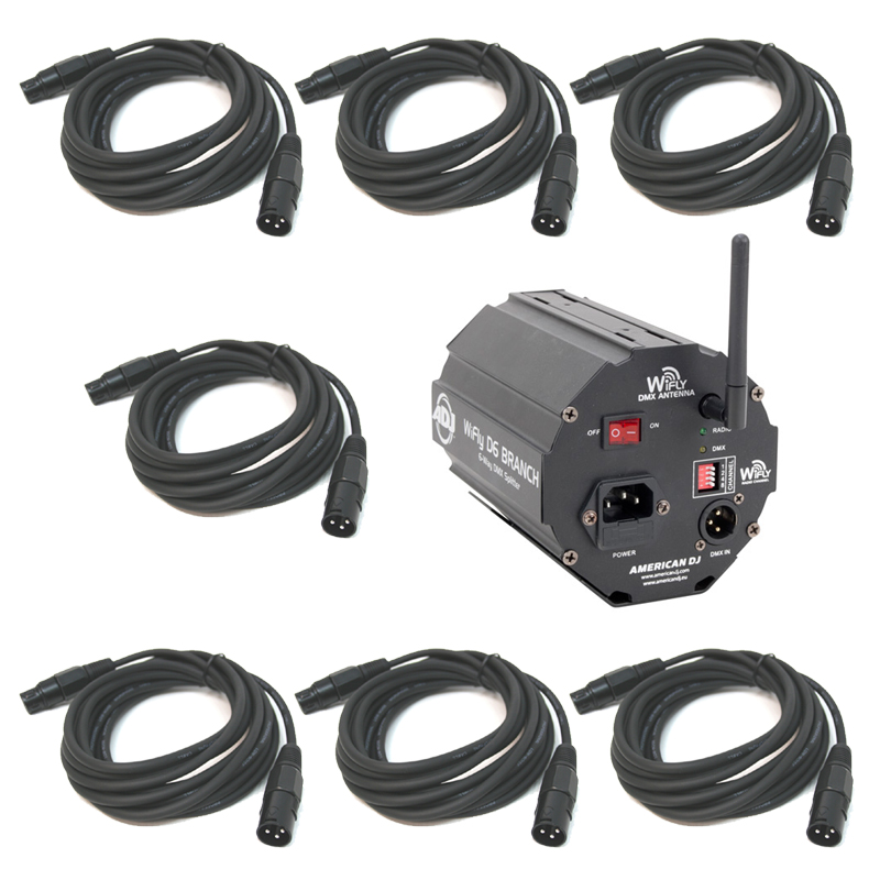 American DJ WiFly D6 Branch Wireless 6-Way DMX Splitter or Amplifier with (7) DMX Cables