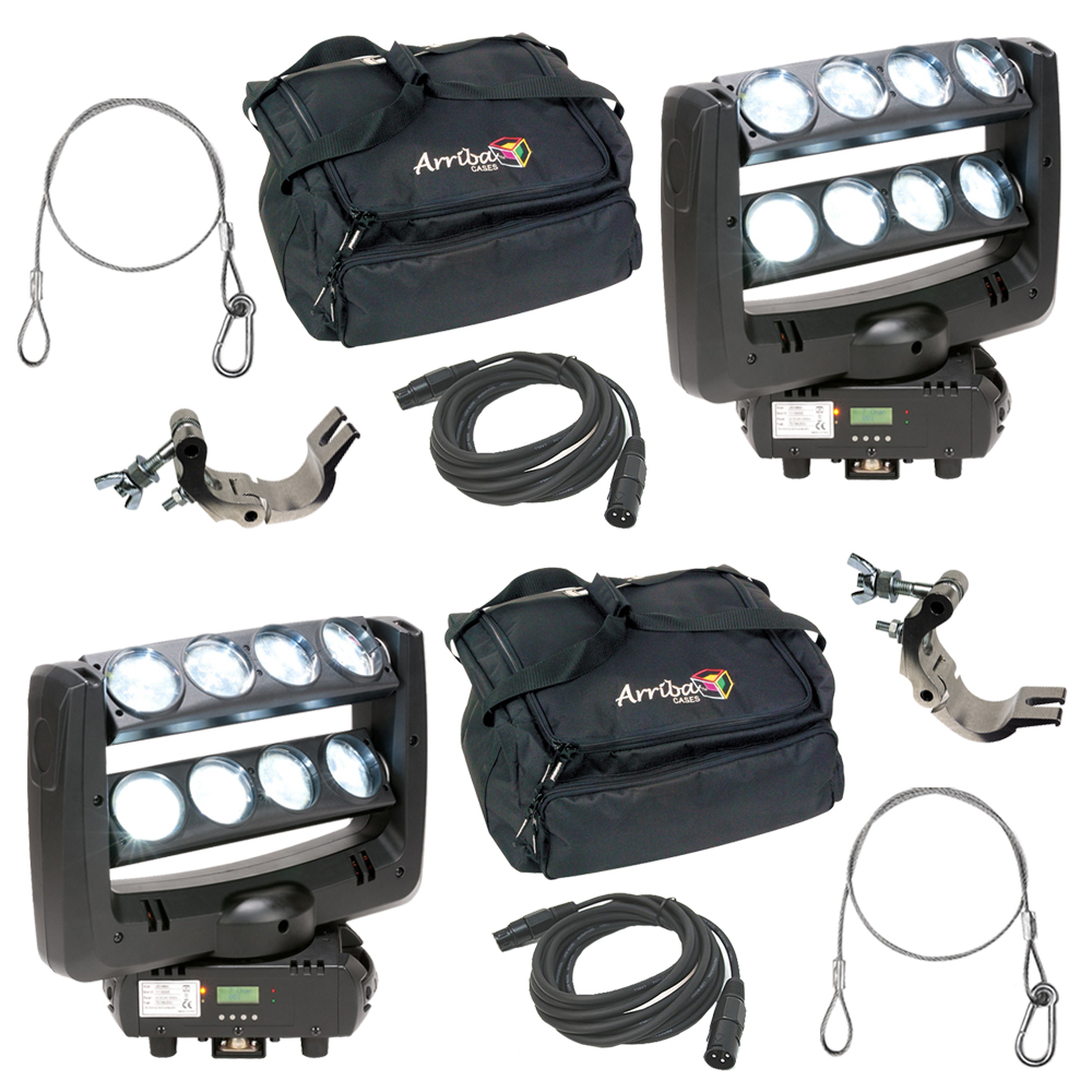 (2) American DJ Lighting Crazy 8 Moving Head 8 Zone Sweeping Light with Bag, Clamp & Cables