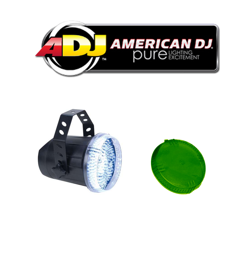 American DJ Lighting Snap Shot LED Variable Speed Strobe Flashing Light with Green Color Dome Package