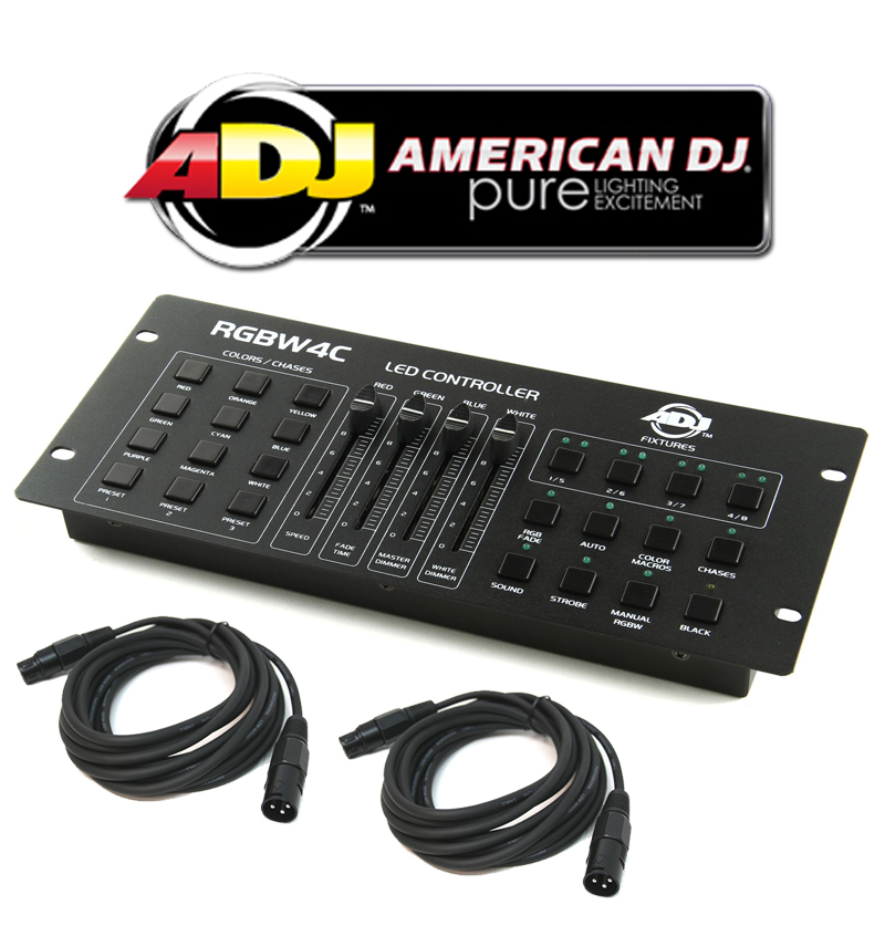 American DJ Lighting RGBW4C LED Par Can Stage Wash Multi Color Controller with (2) DMX Cables Package