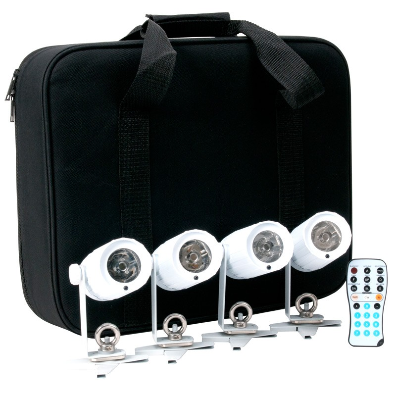 American DJ PINPOINT GO PAK Quad LED Cool White Pinspot Fixture Package w/ Remote & Carry Bag