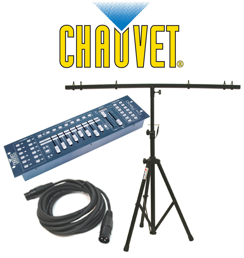 Chauvet DJ Lighting Obey 40 Light 192 Channel DMX 512 Controller with DMX Cable & T-Bar Tripod Stand
