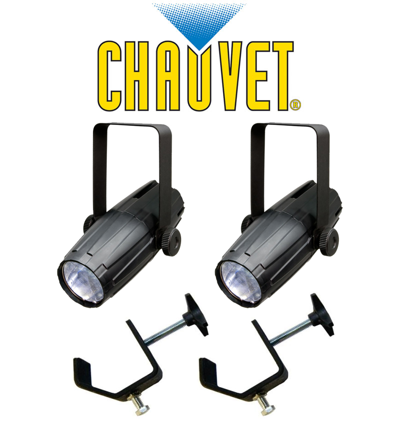 Chauvet DJ Lighting (2) LED Pinspot 2 Disco Mirror Ball Spot Light with (2) Mounting Clamps Package