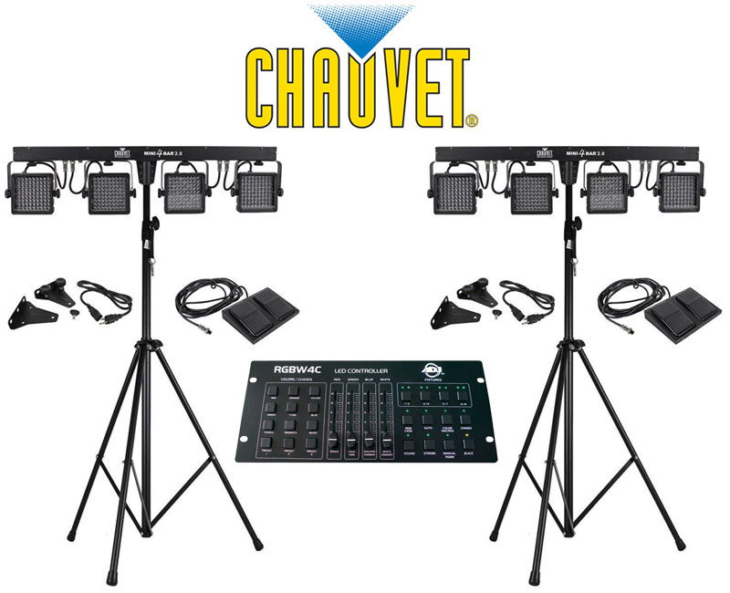 chauvet dj lighting 2 mini 4bar 2 0 mobile wash light package stand light with american dj. Black Bedroom Furniture Sets. Home Design Ideas