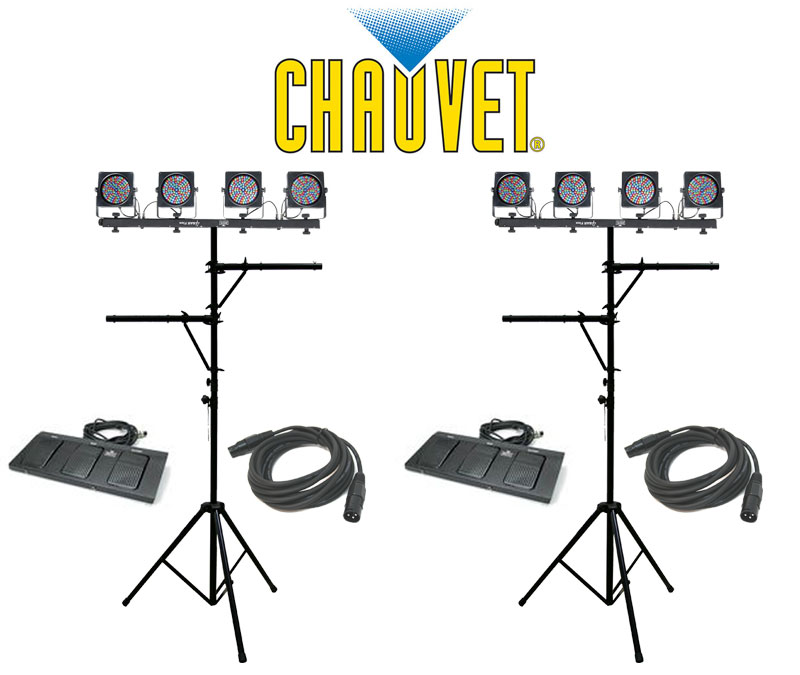 Chauvet Dj Lighting 2 4 Bar Flex Stage Led Color Wash Light With Dmx Cables Multi Arm Tripd Stands Package