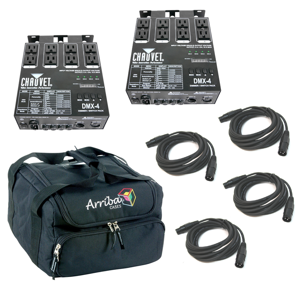 Chauvet DJ Lighting (2) DMX-4 Programable Dimmer / Relay Switch Pack with (4) DMX Cables & Arriba Bag