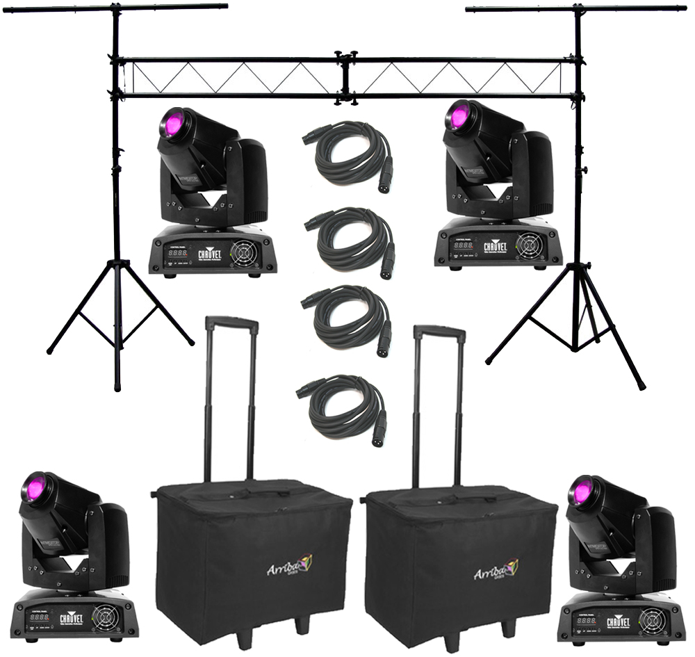 Chauvet Dj Lighting 4 Intimidator Spot Led 150 Moving Head Yoke Light With Truss System Arriba Bags Dmx Cables