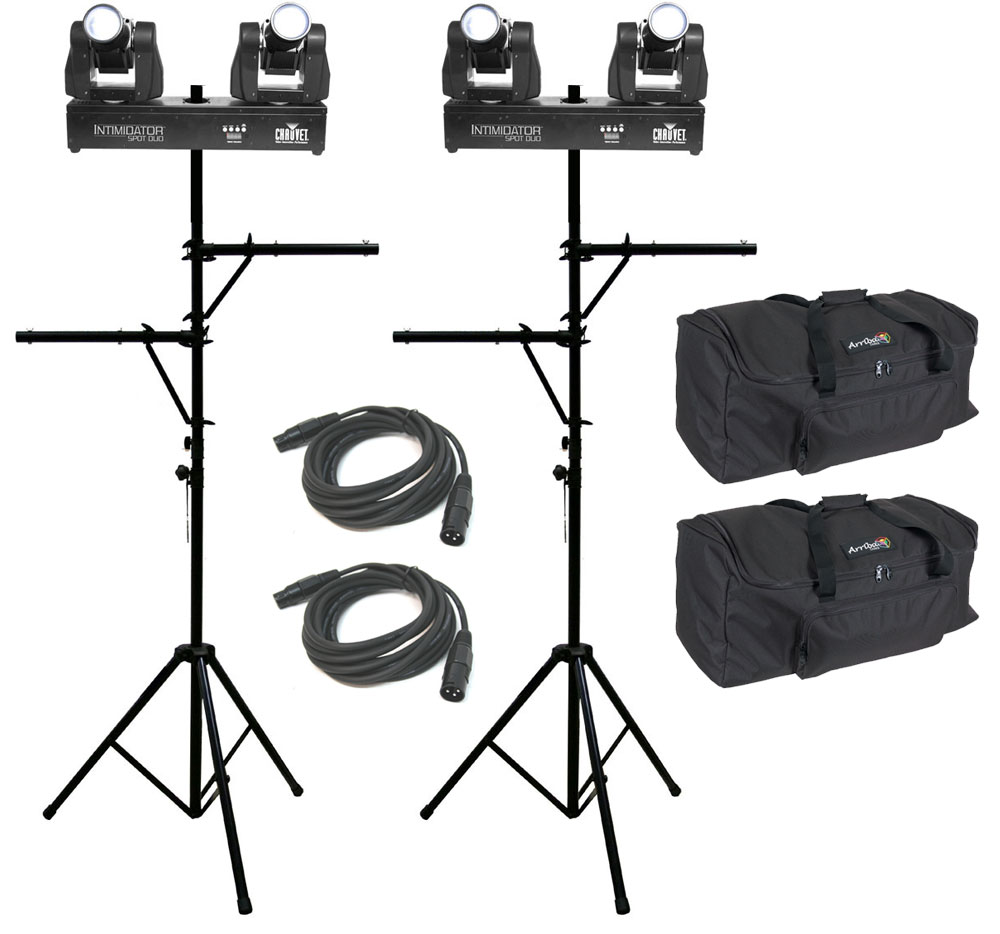 Chauvet DJ (2) Intimidator Spot Duo Moving Spot Dual Head Light with(2) Multi Arm Tripod Stands, (2) DMX Cables & (2) Travel Bags