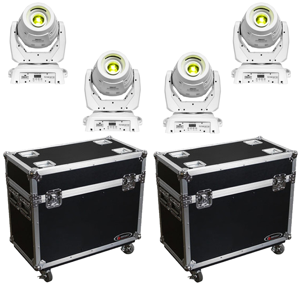 chauvet dj lighting 4 intimidator spot led 350 white moving head spot lights with 2 rolling. Black Bedroom Furniture Sets. Home Design Ideas