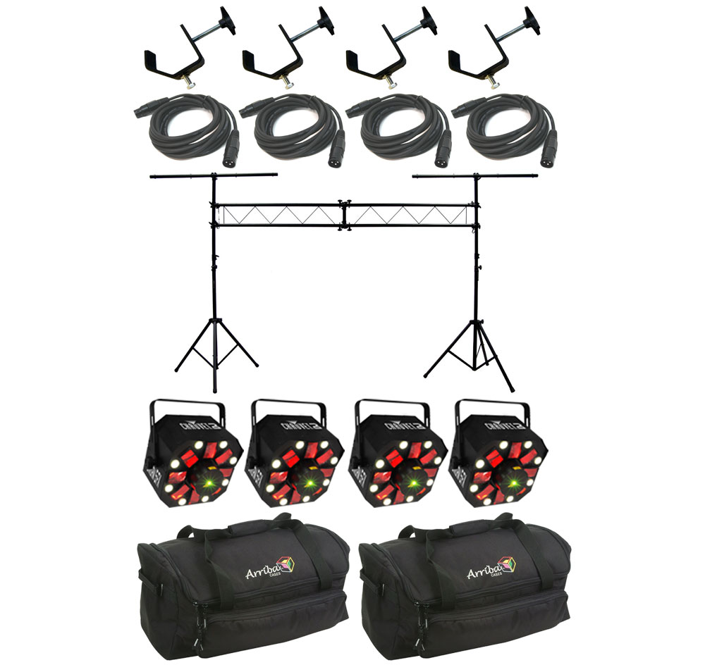 Chauvet DJ Lighting (4) Swarm 5 FX Multi Effect RGBW LED Rotating Derby Laser Light with Truss System, DMX Cables, Clamps & Travel Bags