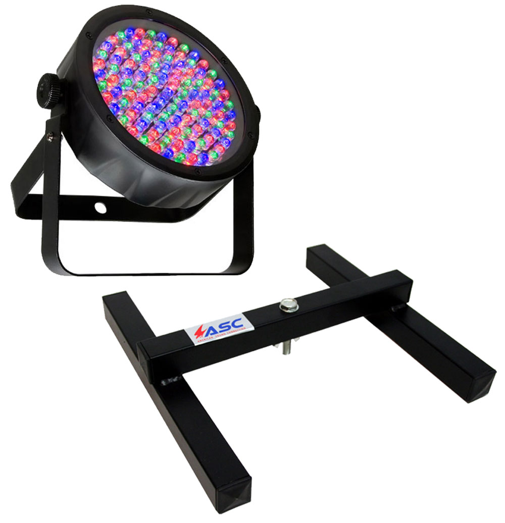 Chauvet DJ Lighting SlimPar 56 (Black) Slim Par Can 7CH DMX LED RGB Color Light with Uplighting Floor Stand