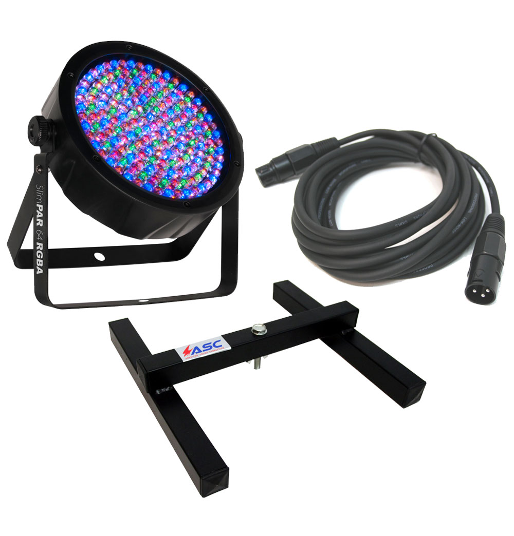 Chauvet DJ Lighting SlimPar 64 RGBA Slim Par Can 7CH DMX LED Color Light with DMX Cable & Uplighting Floor Stand