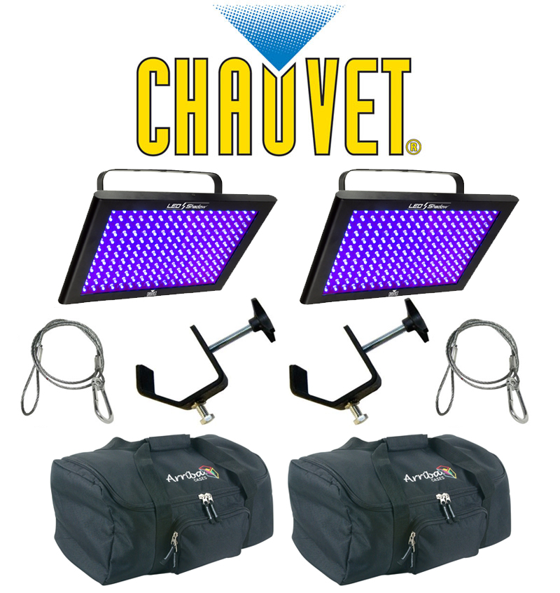 Chauvet DJ Lighting (2) TFX-UVLED LED Shadow Blacklight UV Panel Light with (2) Safety Cables, (2) Clamps & (2) Arriba Carry Bags