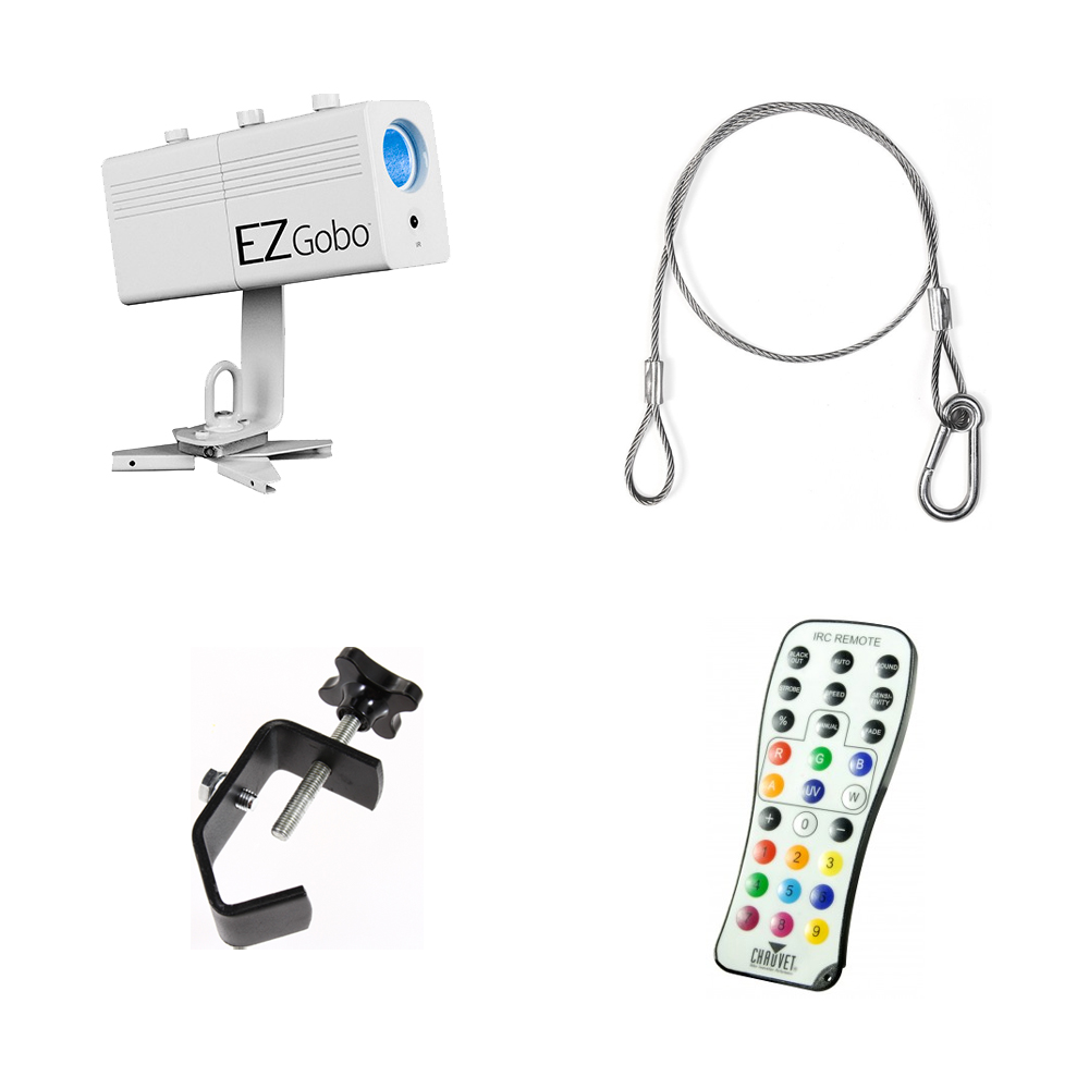 Chauvet DJ Lighting EZ Gobo Battery Powered LED Logo or Image Projector with Clamp & Safety Cable