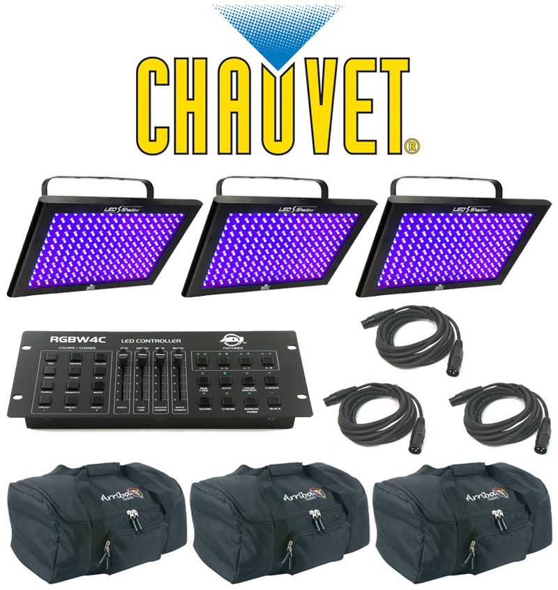 Chauvet DJ Lighting (3) TFX-UVLED LED Shadow Blacklight UV Panel Light with (3) DMX Cables & RGBW4C DMX Control Board