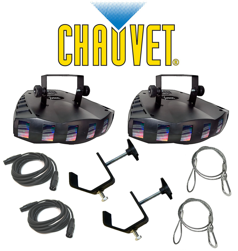 Chauvet DJ Lighting (2) Derby X Dance Effect Party Light with (2) DMX Cables, (2) Safety Cables & (2) Clamps Package