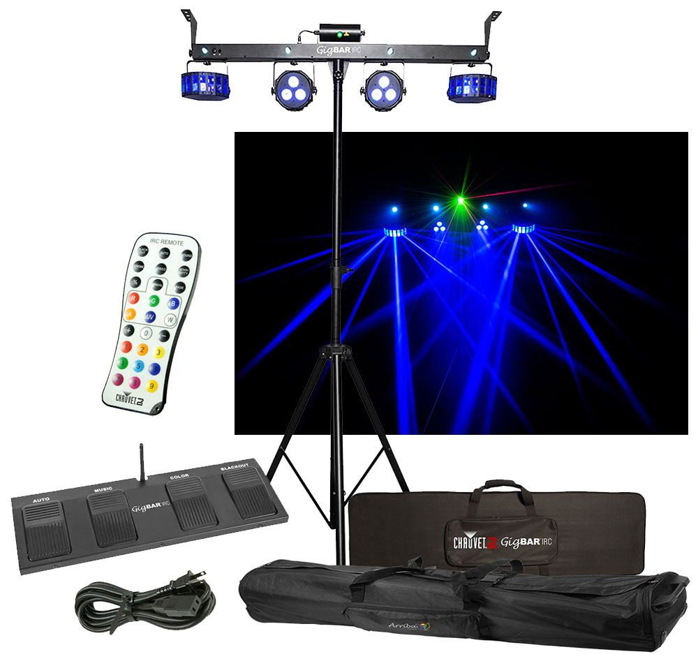 Chauvet Dj Lighting Gigbar Irc Derby Laser Par Strobe Effect Light Remote Bag