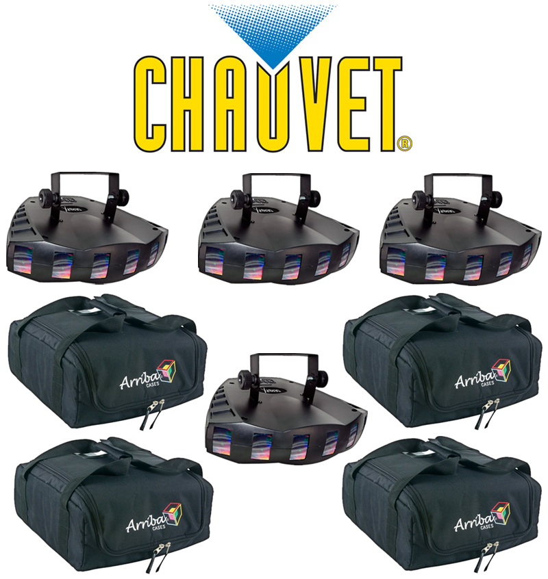 Chauvet DJ Lighting (4) Derby X Dance Effect Party Light with (4) Arriba Carry Bag Package