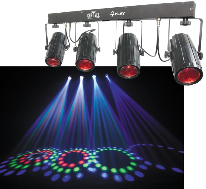 Chauvet Dj Lighting 4play Multi Color Led Moonflower Effect Bar Light With 2 Dmx Cables Tripod Stand