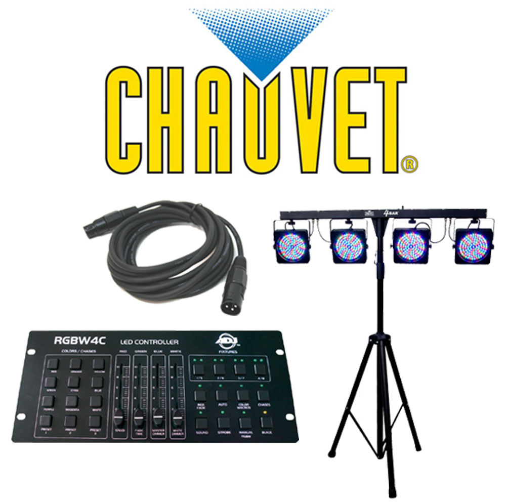 chauvet lighting dj 4bar complete stage led light package with dmx cable american dj rgbw4c. Black Bedroom Furniture Sets. Home Design Ideas