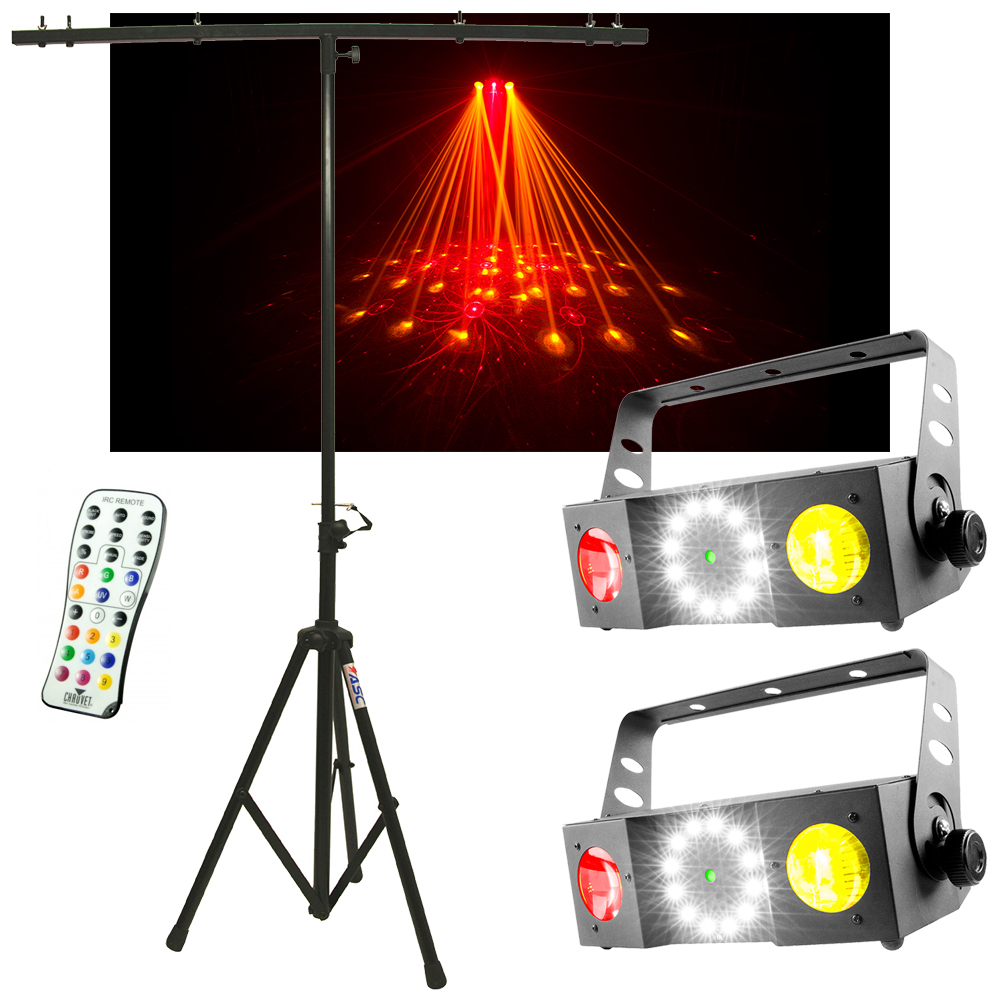 (2) Chauvet DJ Lighting Swarm 4 FX Moonflower 3 in 1 Light w/ Remote & Stand New