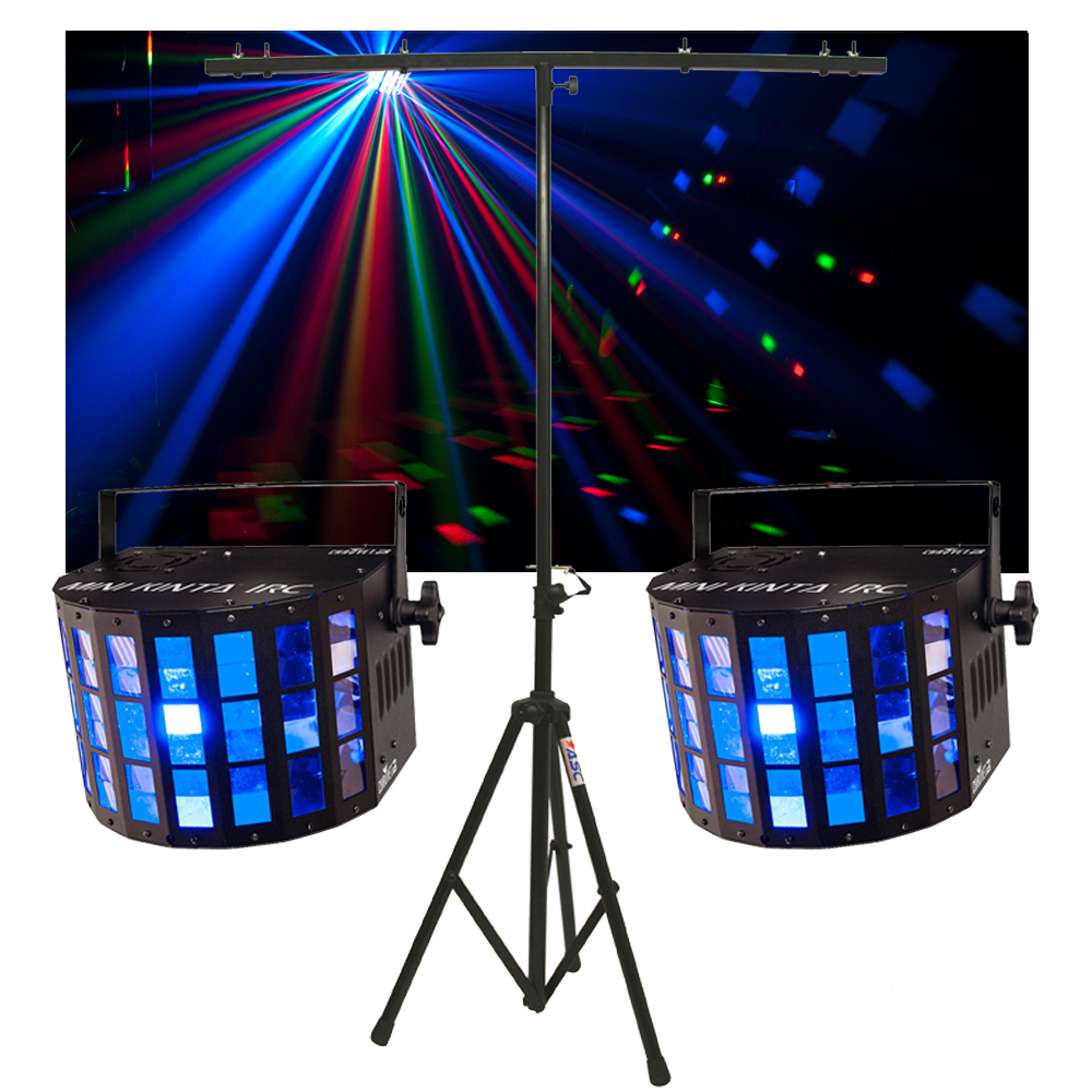 2 Chauvet Dj Lighting Mini Kinta Irc Derby Color Led Light W Tripod Stand New