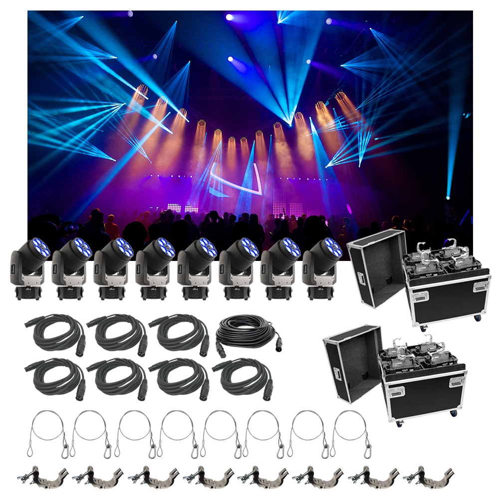 8 chauvet dj lighting intimidator trio light quad case bag clamp cable package ebay. Black Bedroom Furniture Sets. Home Design Ideas