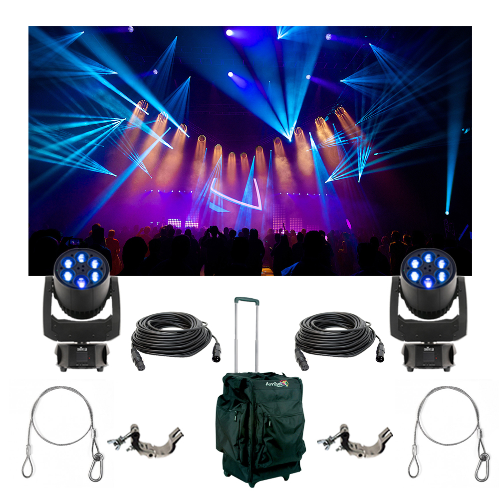2 Chauvet Dj Lighting Intimidator Trio Moving Light Bag Clamp Cables Package