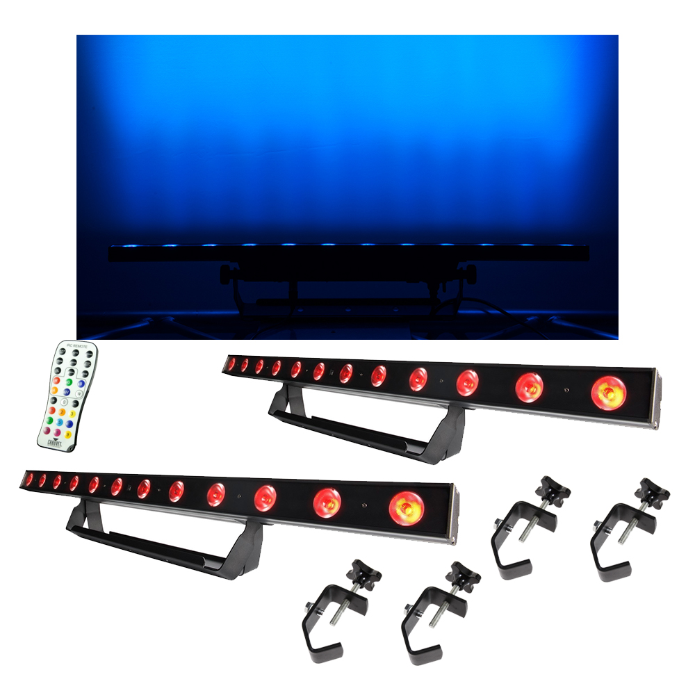 (2) Chauvet DJ Lighting COLORband Pix USB Linear Wash Light w/ Remote & Clamps