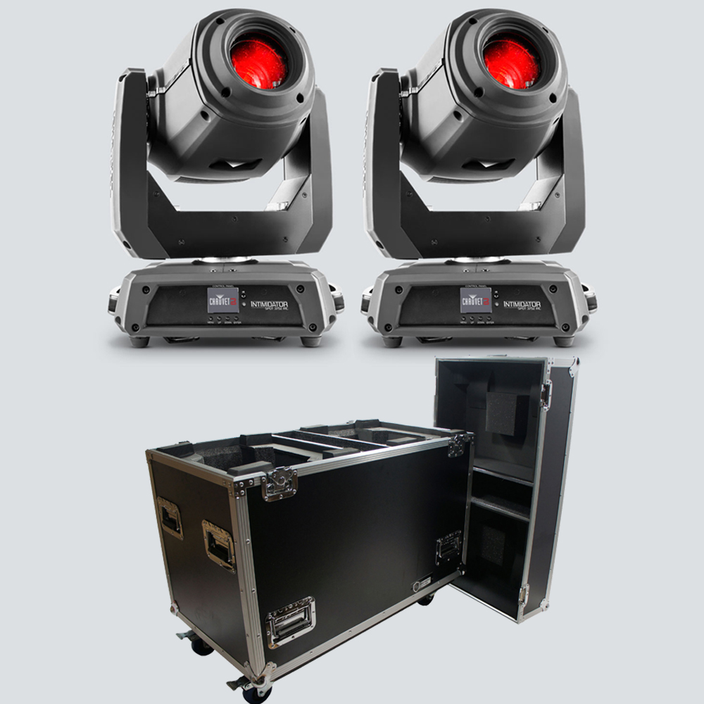 Chauvet DJ Intimidator Spot 375Z IRC Moving Head Lights (2) with Rolling Road Case