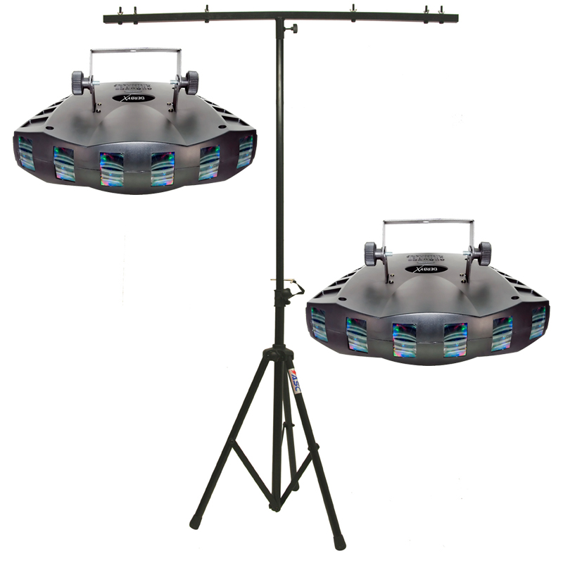 Chauvet Lighting (2) Derby X LED Dance Effect Package w/ Adjustable Tripod Stand