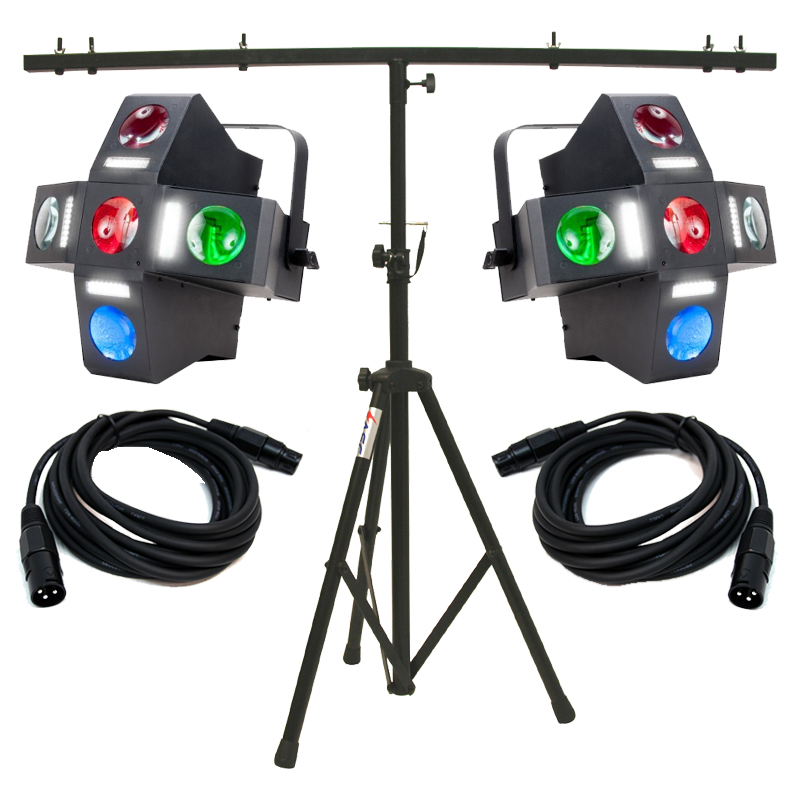 American DJ (2) Monster Fun Moonflower/Strobe Package with 2 DMX Cables & Stand