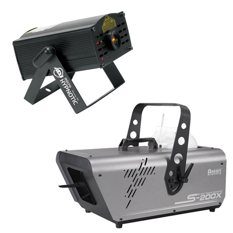 Elation Lighting S-200X 5L Silent Snow Machine Package with Micro Hypnotic Laser